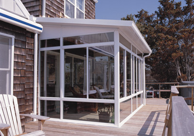 Four Seasons Sunrooms Augusta Georgia-Straight Glass Sunroom with Solid Roof